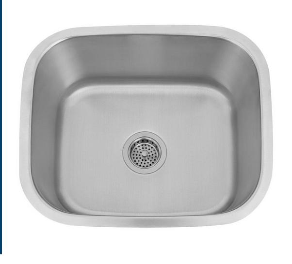 Wells Sinkware 18 Gauge Single Bowl Undermount Stainless Steel Kitchen Sink Package CMU2318-9-1