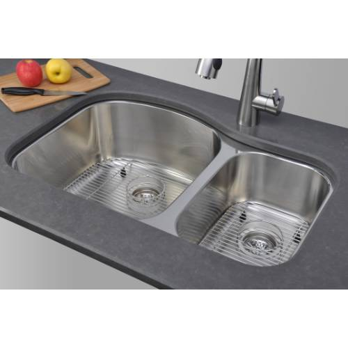 Wells Sinkware 17 Gauge Deck/ 18 Gauge Double Bowl Undermount Stainless Steel Kitchen Sink Package CHU3221-97-1