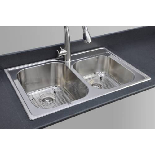 Wells Sinkware 18 Gauge Double Bowl Topmount Stainless Steel Kitchen Sink Package GLT3322-79-1