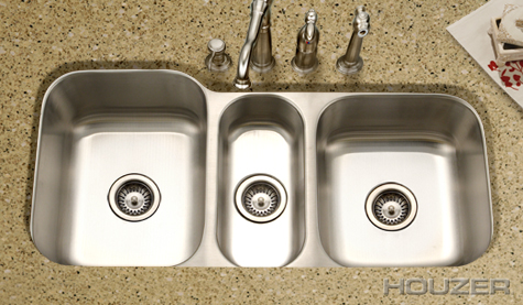 Charmant ... Stainless Steel Sink. Houzer Medallion Undermount Gourmet Triple Bowl  MGT 4120 1