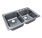 Moen 21610 Traditional Stainless Steel 20 Gauge Double Bowl Drop In Sink