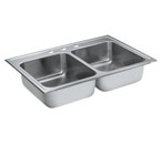 Moen 22212 Camelot Stainless Steel 20 Gauge Double Bowl Drop In Sink
