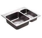 Moen 22238 Camelot Stainless Steel 20 Gauge Double Bowl Drop In Kitchen Sink