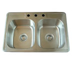 Alpha International D-311 Drop-In Double Bowl Stainless Steel Sink