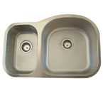 Alpha International U-321BR-16 Undermount Double Bowl Stainless Steel Sink