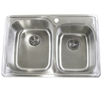 "33"" Top-Mount / Drop-In Stainless Steel Kitchen Sink WCTB3322-6040"