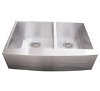 Alpha International AP3319 60/40 Apron Double Bowl Stainless Steel Sink