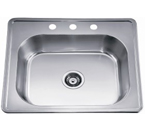 Dawn AST103 Topmount Single Bowl with Faucet Holes Stainless Steel Sink