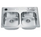 Dawn AST3322 Topmount Equal Double Bowl Stainless Steel Sink