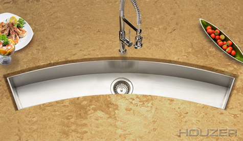 Houzer CTC-4512 Zero Radius Undermount Curved Trough Bar/Prep Stainless Steel Sink