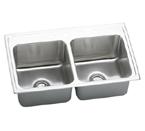 Elkay Gourmet Lustertone DLRQ3319 Topmount Double Bowl Stainless Steel Sink