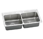 Elkay Gourmet Lustertone DLRQ4322 Topmount Double Bowl Stainless Steel Sink