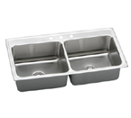 Elkay Gourmet Lustertone DLR4322 Topmount Double Bowl Stainless Steel Sink
