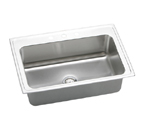 Elkay Gourmet Lustertone DLRSQ3322 Topmount Single Bowl Stainless Steel Sink