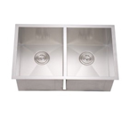 Dawn DSQ271616 Undermount Equal Double Bowl Stainless Steel Sink with Zero Radius Corners