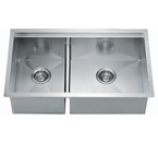 Dawn DSQ301515 Undermount Double Bowl Stainless Steel Sink with Zero Radius Corners