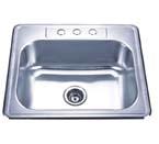 Delta Rectangle Single Bowl Top Mount Stainless Steel Sink 20 Gauge DL2522