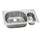 Elkay Harmony ECGR332210 Topmount Double Bowl Stainless Steel Sink