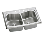 Elkay Echo ECTM3322103 Topmount Double Bowl Stainless Steel Sink