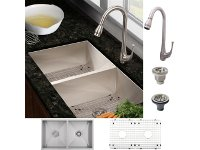 Ticor FS6501-10 Undermount Kitchen Sink + Brushed Nickel Faucet COMBO