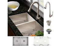 Ticor FS6501-9 Undermount Kitchen Sink + Brushed Nickel Faucet COMBO