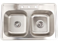 Fontaine Stainless Steel 3-hole Double Bowl Drop-in Kitchen Sink