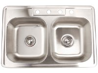 Fontaine Stainless Steel 4-hole Double Bowl Drop-in Kitchen Sink