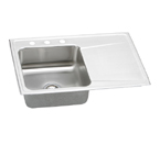 Elkay Gourmet Lustertone ILR3322 Topmount Single Bowl Stainless Steel Sink