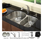 Kraus Stainless Steel 30 inch Undermount 16 gauge Double Bowl Kitchen Sink with Kitchen Faucet and Soap Dispenser KBU21-KPF2110-KSD20