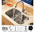 Kraus Stainless Steel 32 inch Undermount 16 gauge 60/40 Double Bowl Kitchen Sink with Kitchen Faucet and Soap Dispenser KBU24-KPF2120-SD20