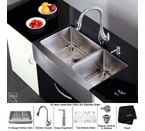 Kraus 36 inch Farmhouse Double Bowl 16 gauge Stainless Steel Kitchen Sink and Stainless Steel Pull out Kitchen Faucet with Soap Dispenser KHF203-36-KPF2170-SD20