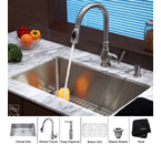 Kraus Stainless Steel 30 inch Undermount Single Bowl Kitchen Sink with Kitchen Faucet and Soap Dispenser KHU100-30-KPF2150-SD20