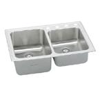 Elkay Lustertone LGR3322 Topmount Double Bowl Stainless Steel Sink