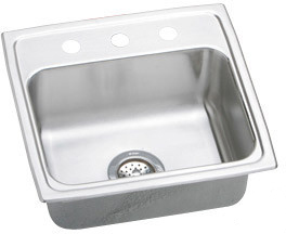Elkay Lustertone 19x19 3 Hole Single Bowl Sink LR19193
