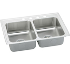 Elkay Lustertone 29x22 3 Hole Double Bowl Sink LR29223