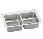 Elkay Lustertone LRADQ3722 Quick Clip Topmount Double Bowl Stainless Steel Sink