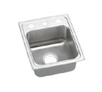 Elkay Lustertone LRAD1517 U-Channel Topmount Single Bowl Stainless Steel Sink