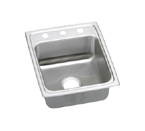 Elkay Lustertone LRAD1720 U-Channel Topmount Single Bowl Sink