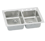 Elkay Lustertone LRADQ250 Quick Connect Topmount Double Bowl Stainless Steel Sink