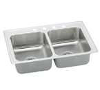 Elkay Lustertone LRAD3321 U-Channel Topmount Double Bowl Stainless Steel Sink