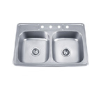 Pelican PL-910 18 Gauge Topmount Double Bowl Stainless Steel Sink