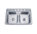 Pelican PL-910 18 Gauge Topmount Double Bowl Stainless Steel Sink