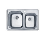 Pelican PL-911 18 Gauge Topmount Double Bowl Stainless Steel Sink