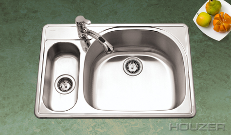 Houzer RMG-3322SL Topmount 80/20 Double Bowl Stainless Steel Sink