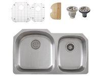 Ticor S105-8 Undermount Stainless Steel Double Bowl Kitchen Sink + Accessories
