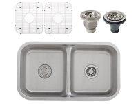 Ticor S1210 Low-Divide Undermount 16-Gauge Stainless Steel Kitchen Sink + Accessories