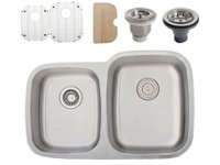 Ticor S305DR Undermount 16G Stainless Steel Double-Bowl Kitchen Sink + Accessories