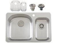 Ticor S997 Overmount 18-Gauge Stainless Steel Double Bowl Kitchen Sink + Accessories