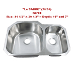 Futura Le Sabre 70/30 FA708 Double Bowl Stainless Steel Kitchen Sink