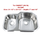 Futura Le Sabre Reverse 30/70 FA708R Double Bowl Stainless Steel Kitchen Sink